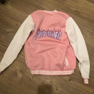 Fashion pink baseball jacket